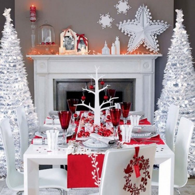 Deco Table Noel Rouge Blanc Argent All Box Fr
