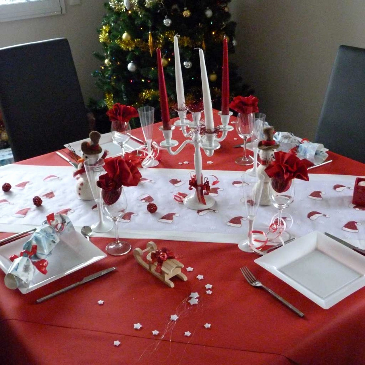 Decoration Table Noel Rouge Argent All Box Fr